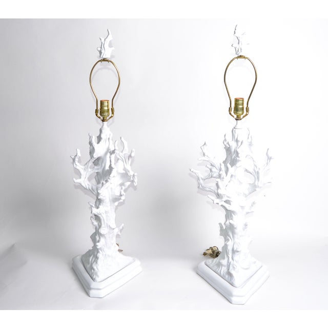 Mid-Century Modern White Porcelain Tree Branches Table Lamps, Pair For Sale - Image 3 of 9