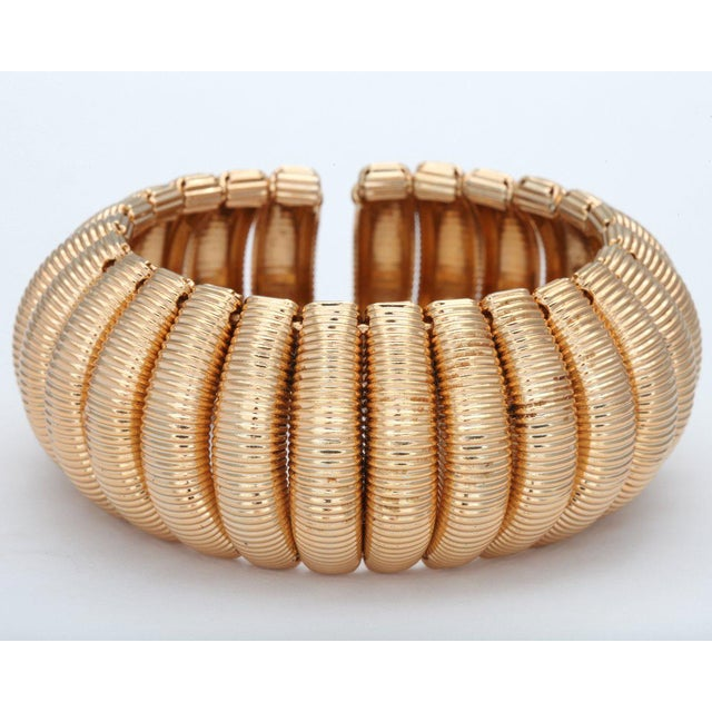 "1970s ""Gold"" Segmented Cuff For Sale - Image 5 of 6"