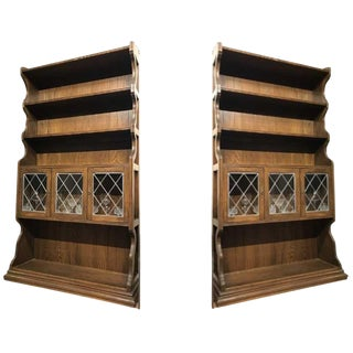 Ethan Allen Vintage Oak Cabinet Hutches - Set of 2 For Sale