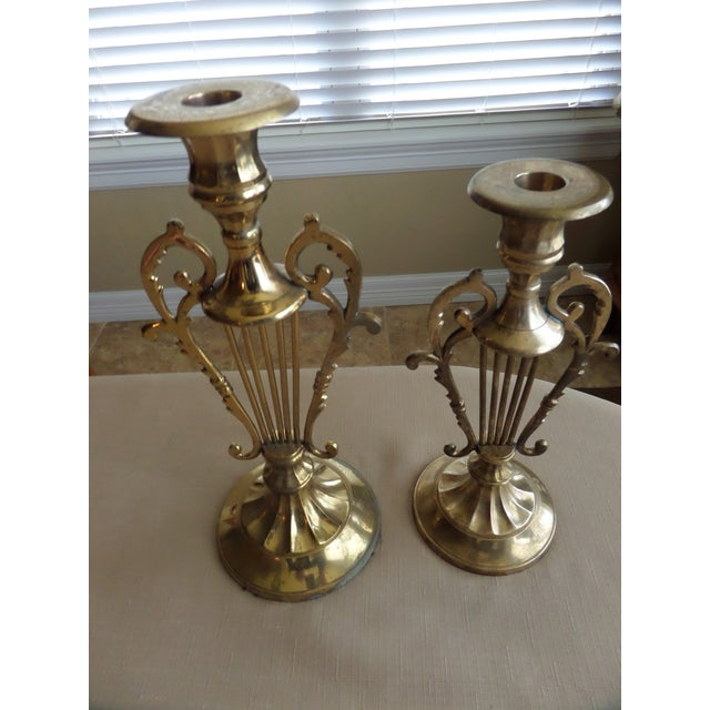 1960s Solid BrassMusical Harp Design Candle Holders - A Pair For Sale - Image 5 of 10
