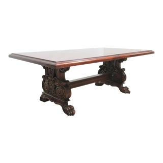 Empire Mahogany Carved Claw Foot Dining Table For Sale