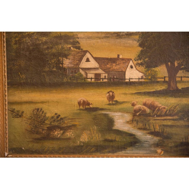 Oil Paint Sheep Grazing Antique Painting For Sale - Image 7 of 11