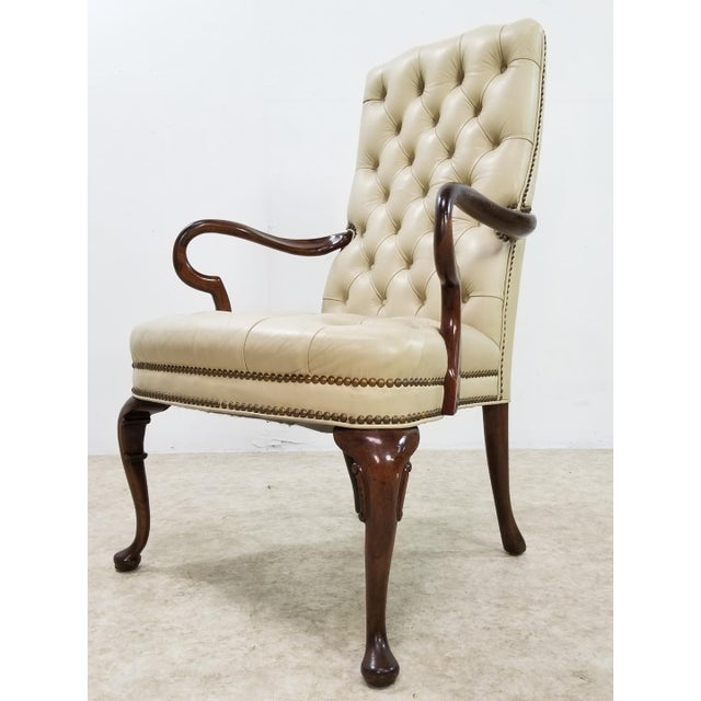 Mid Century Executive Leather and Wood Tufted Chesterfield Armchair For Sale - Image 10 of 13