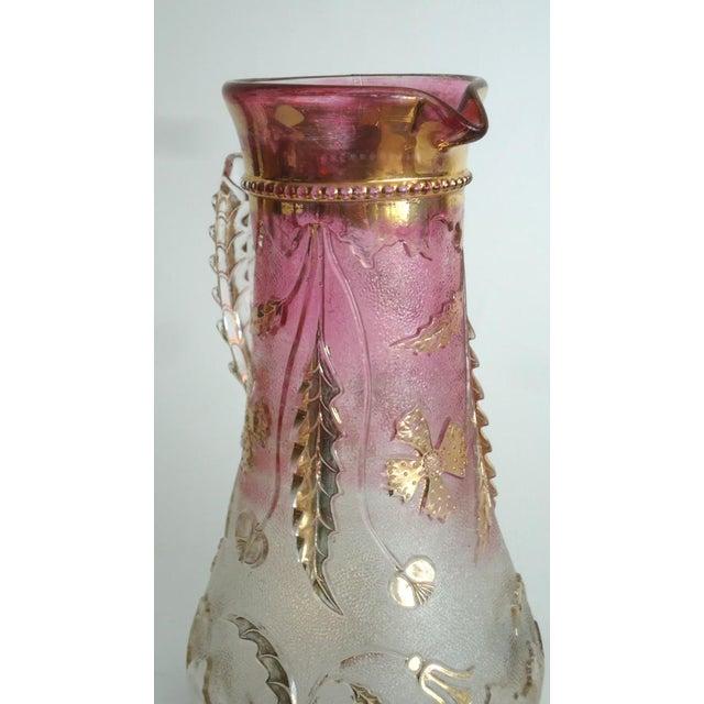 1900s Art Nouveau Czech Cranberry & Gold Flash Glass Pitcher For Sale - Image 4 of 8