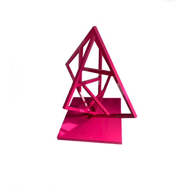 """Artist: Steve """"Shig"""" Shigley Title: Balancing Act Description: Abstract steel sculpture, powdered coated in raspberry red...."""