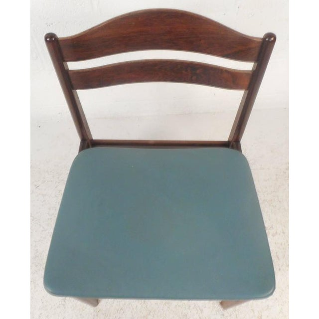 Set of Four Mid-Century Modern Danish Rosewood Dining Chairs with Leather Seats For Sale In New York - Image 6 of 11