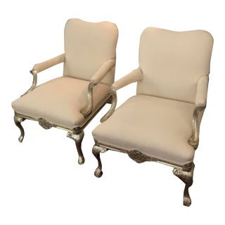 Baker Claw and Ball Silver Gilt Arm Chairs-A Pair For Sale