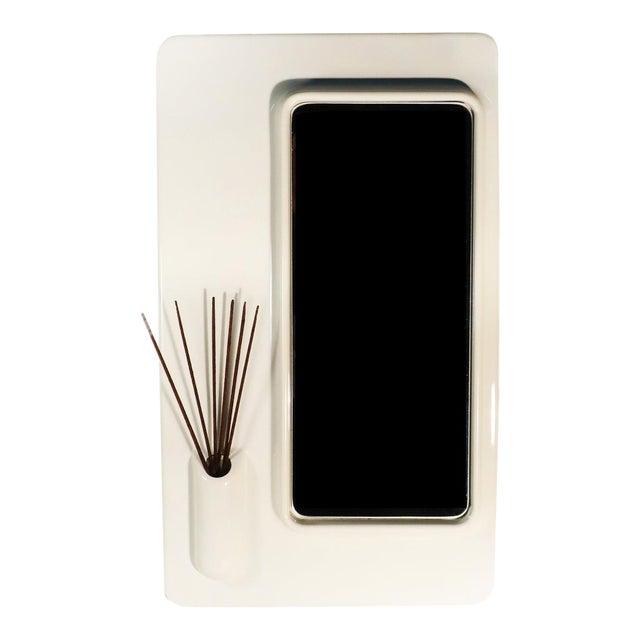 White Plastic Italian Mod Mirror For Sale