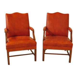 Chippendale Walnut & Leather Library Chairs - a Pair For Sale
