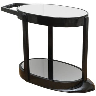 Ebonized Art Deco Streamlined Sculptural Two-Tier Bar Cart or Trolley For Sale