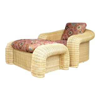 Rattan Lounge Chair With Ottoman For Sale