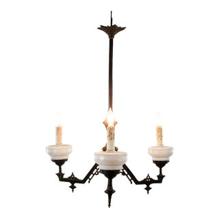 Late 19th C. Victorian East Lake Style 3 Light Chandelier