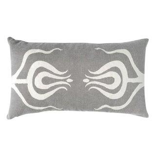 Contemporary Grey Tulips Lumbar Pillow For Sale