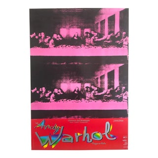 "Andy Warhol Rare Original Vintage Lithograph Italian Exhibition Pop Art Poster "" Last Supper "" 1986 For Sale"