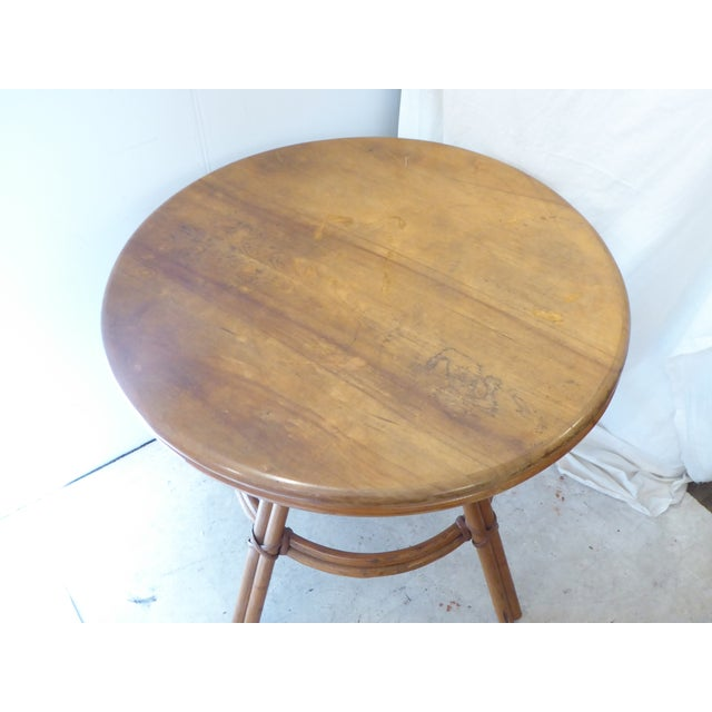Modern Vintage Heywood Wakefield Round Side Table For Sale - Image 3 of 6