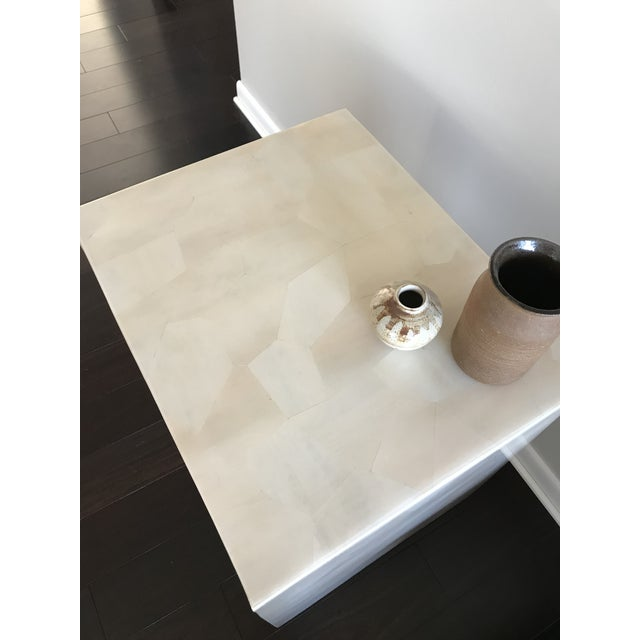 White Modern Made Goods Sleek Faux Horn Side Table For Sale - Image 8 of 13