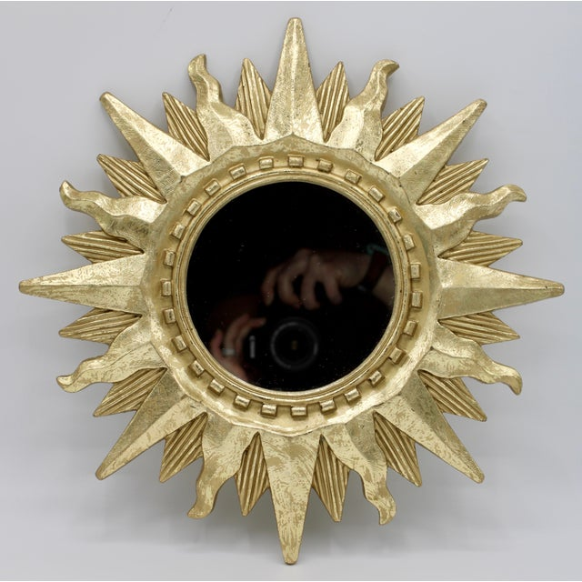 Mid 20th Century Mid Century Modern Gold Sunburst Mirror For Sale - Image 5 of 13