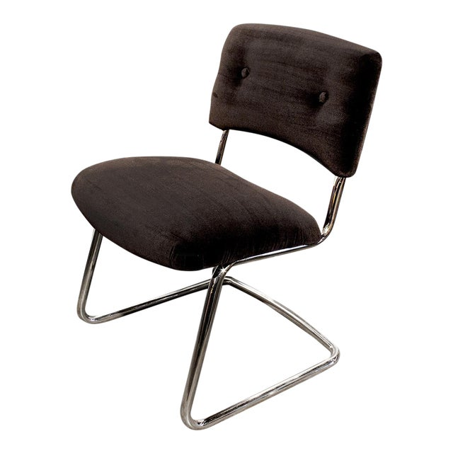 Steelcase Brown Micro-Velvet Cantilever Side Chair - Image 1 of 7