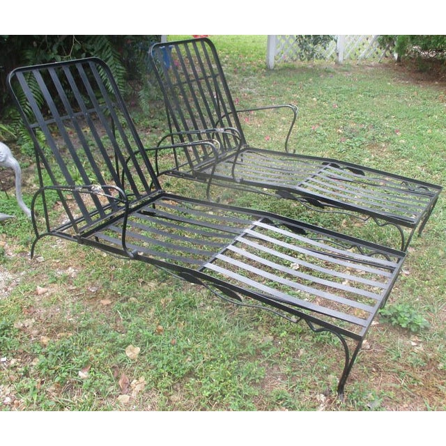 1960s 1960s Mid-Century Modern Iron Woodard Outdoor Chaise Lounges - a Pair For Sale - Image 5 of 9