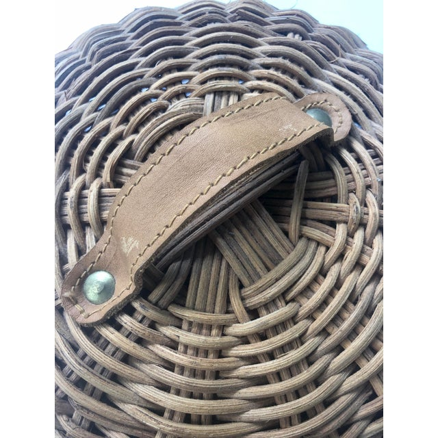 Large French Cloche Cheese Bell in Natural Woven Wicker Rattan With Leather Handle For Sale In Charleston - Image 6 of 13