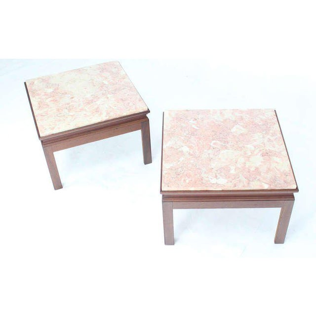 Wood Mid-Century Modern Pair of Marble-Top Low End Tables For Sale - Image 7 of 8