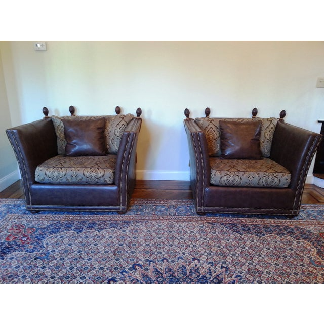 Safavieh Leather Nailhead Accent Chairs - Pair - Image 2 of 8
