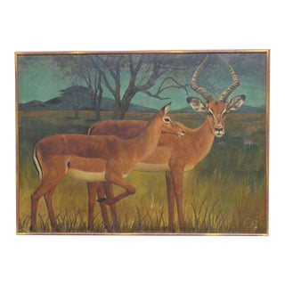 20th Century French Country Deer Painting For Sale