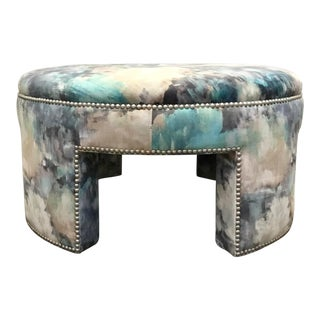 Lillian August Modern Abstract Print Rory Ottoman For Sale