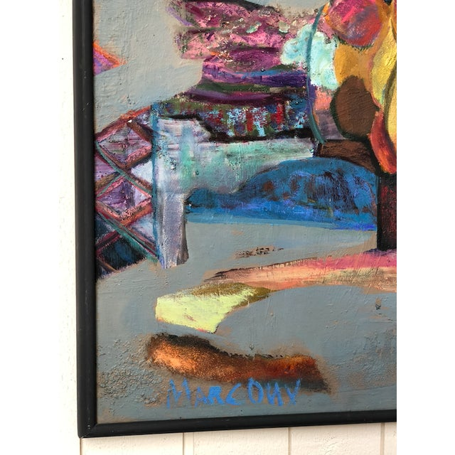 Colorful Vintage Expressionist Abstract Painting on Stretched Canvas by Eric Marconi For Sale - Image 4 of 8