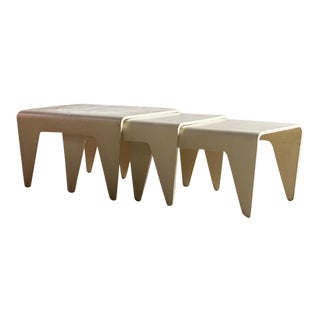 1936 Marcel Breuer White Nesting Tables by Isokon - Set of 3 For Sale