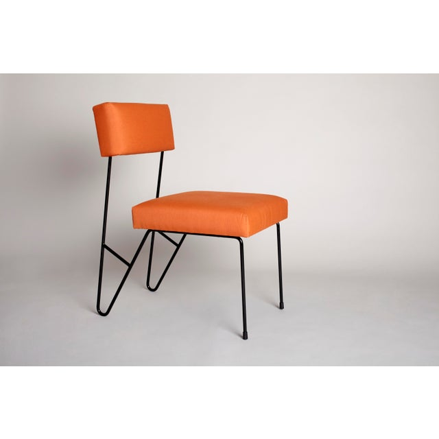 Contemporary Fay Outdoor Dining Side Chair, Orange Upholstered Sunbrella with Black Powder Coated Stainless Steel Base For Sale - Image 3 of 3