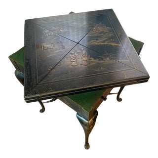 Antique Chinoiserie English Game Table For Sale