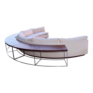 1960s Vintage Milo Baughman Semi-Circular Sofa With Rosewood Tables For Sale