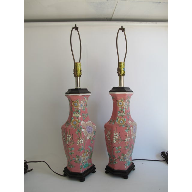Vintage 1930s Pink Chinoiserie Lamps - A Pair - Image 9 of 10
