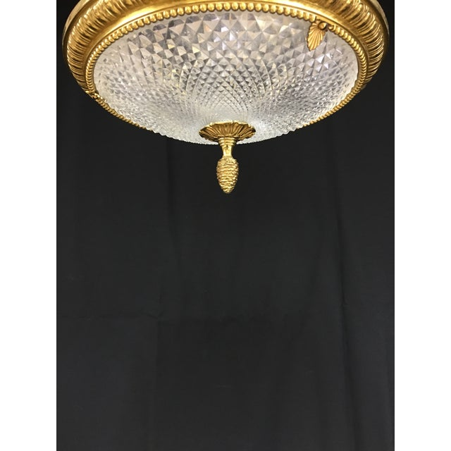 Empire French Brass and Cut Crystal Neoclassical Empire Bowl Chandelier For Sale - Image 3 of 6