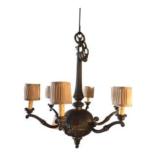 19th Century Six Light Bronze Chandelier For Sale