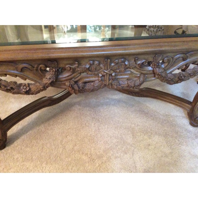 Hand Carved Traditional Glass Top Coffee Table - Image 6 of 7