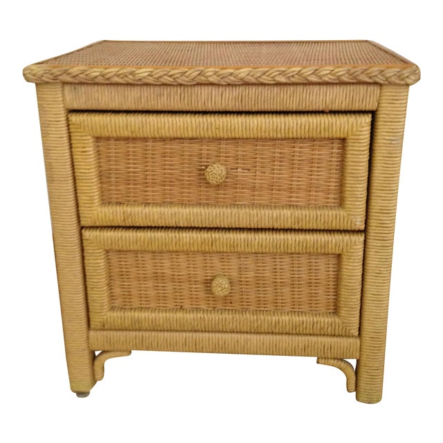 Vintage Wicker Henry Link Nightstand - Image 1 of 8