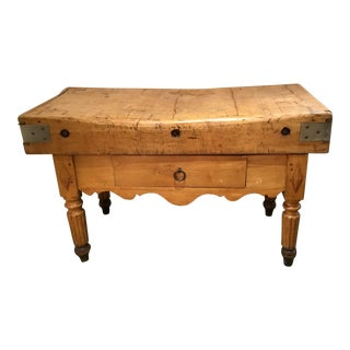 19th C. French Carved Butcher Block Table