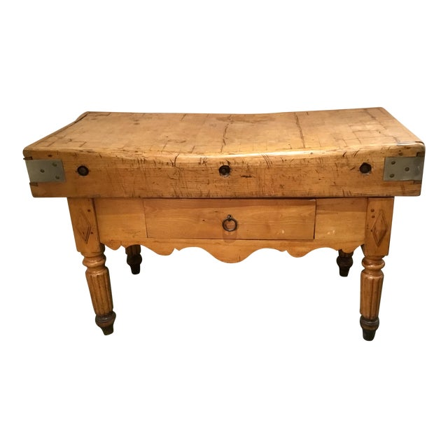 19th C. French Carved Butcher Block Table For Sale