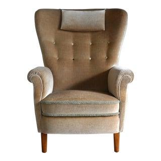 Danish Flemming Lassen or Fritz Hansen Style 1940's Highback Lounge Chair For Sale