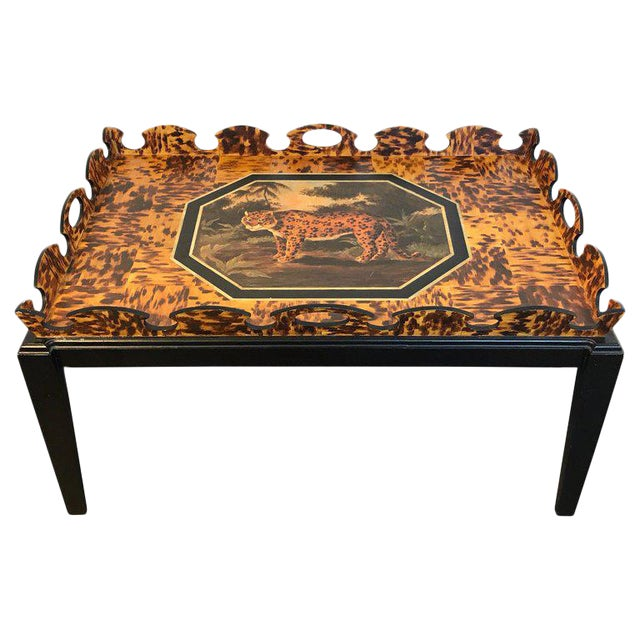 Regency Style Tortoiseshell & Jaguar Motif Coffee Table by William Skilling For Sale