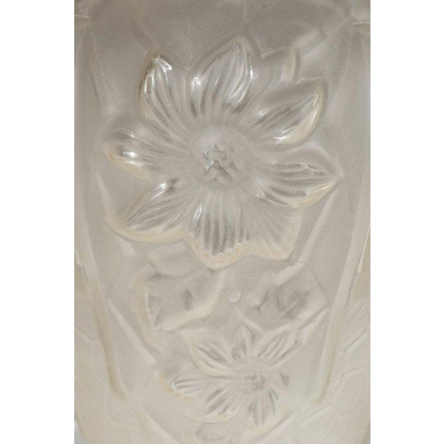 Glass Art Deco Relief Frosted Glass Vase with Cubist Floral and Geometric Design For Sale - Image 7 of 9