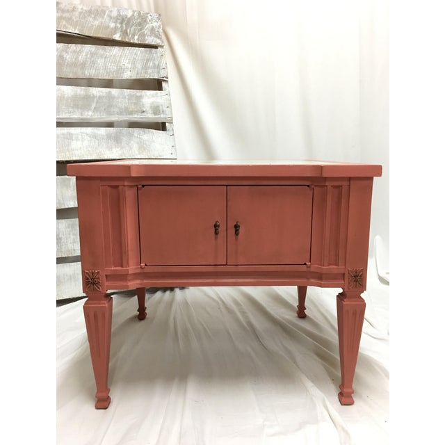 Pink Scandinavian Pink Italian Marble Top End Table For Sale - Image 8 of 10
