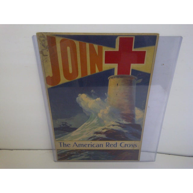 Mid-Century Modern Vintage WWII American Red Cross Poster For Sale - Image 3 of 6