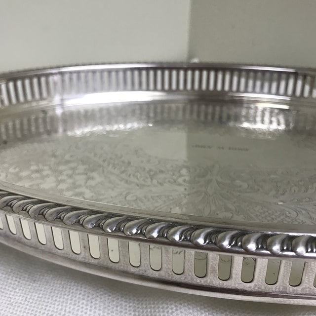 1950s Vintage Blackinton Silverplate Footed Gallery Tray For Sale - Image 9 of 10