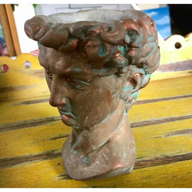 "Michelangelo's David Bust Copper Patina Indoor Outdoor Head Planter Copper Patina Green finish, 6"" tall x 4"" wide. Great..."