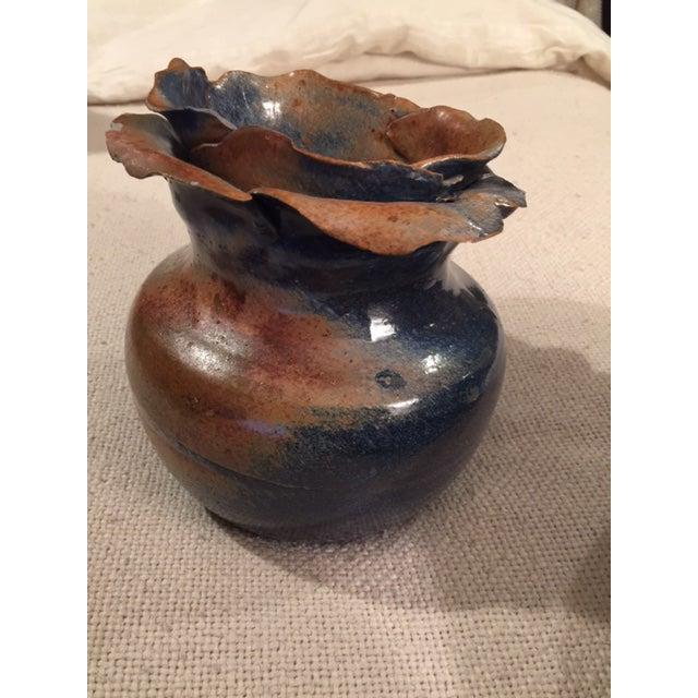 Petal Top Pottery Vase - Image 2 of 7