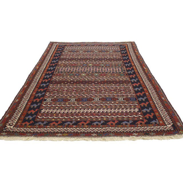 Adirondack Vintage Soumak Persian Rug With Tribal Style - 3'9 X 6'10 For Sale - Image 3 of 5