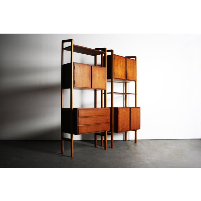 Yugoslavian Mid-Century Teak Wall Units - A Pair For Sale - Image 5 of 9
